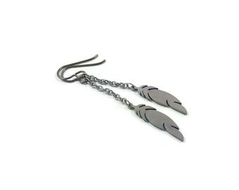 Feather silver chain dangle earrings - Hypoallergenic pure titanium and stainless steel