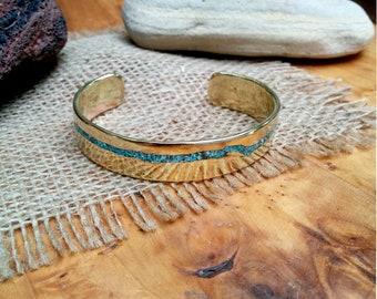 Stream Turquoise Bronze Cuff Bracelet.  2 X 14 mm.