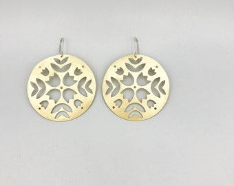 Brass floral cut-out MILA earring