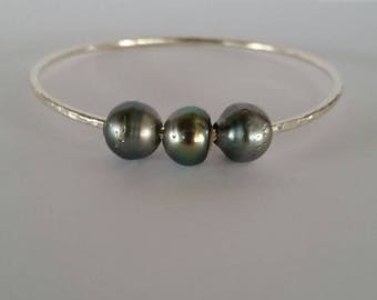 Triple Tahitian Pearl Bangle Sterling Silver