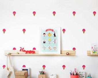 Ice Cream Wall Decal / Ice cream cone Wall Sticker / Kids wall decoration / Nursery decal / Ice cream decal / Candy wall decor