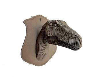 Cardboard Raptor trophy head