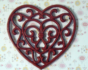 Heart Cast Iron Trivet Hot Plate Red Fleur de lis FDL French Country Chic Kitchen Decor