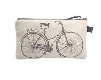 Bicycle Pencil Case, Personalised Pencil Bag, Canvas Zip Pouch, Grey Pencil Case, Pencil Pouch, Bike Gifts, Canvas Pencil Case