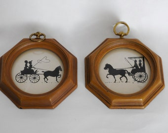 Vintage Silhouette Carriage Pictures- Black and White Shadow