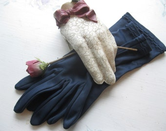 Navy Blue Vintage Gloves, Size 6 1/2 or 7, Made in Western Germany, Eatons, Graduation Gloves, Wedding Gloves, by mailordervintage on etsy