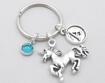 Unicorn keyring | unicorn keychain | personalised vintage style initial unicorn keyring | unicorn accessory | unicorn gift | birthstone