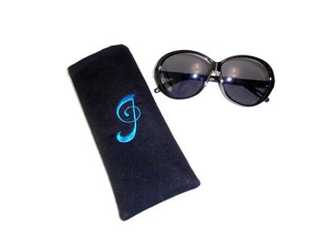 Sunglass EyeGlass Case, Personalized  Embroidered Glasses Case, Monogram Letter, Birthday Gift For Women, Made With Black Houndstooth Fabric