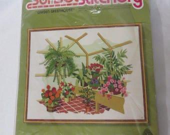 Vintage 80s Garden Greenhouse Marigold Sunset Stitchery Craft Kit DIY Needlepoint
