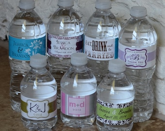 300 Custom Glossy Waterproof Wedding Water Bottle Labels - hundreds of designs to choose from - change designs to any color, wording, etc