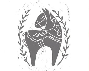 Black Dala Horse- 9x12 hand printed linoleum block print