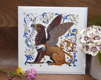 Griffin, Griffon greeting card, heraldic beast, illuminated letter, fantasy magical mythical animal.