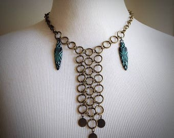 Warrior Woman Tribal Necklace Boho Chainmaille Jewelry