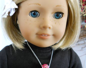 "Necklace for 18"" Dolls Pink Rolling Bead Necklace with Chain for American Girl Type Dolls"