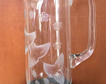Vintage Wild Strawberry Pattern Clear Cut Glass Pitcher