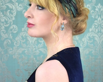 Black Feather Headband with Green Iridescence | Feather Fascinator | Feather Headpiece | Bridal Headpiece | Black Feather