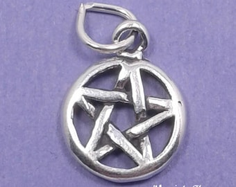 PENTACLE Charm .925 Sterling Silver Pentagram, STAR Small Pendant - lp2692