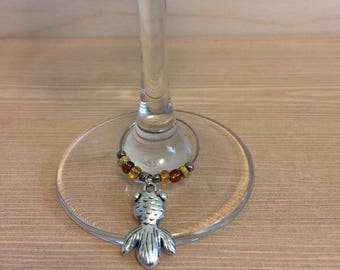 Goldfish wine glass charm - koi fish wine glass charm - hostess gift - gift for her - wine lovers gift