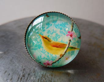 Yellow Bird Ring, Yellow warbler bird, bird and roses, branch with pink blossom, peach tree canary, victorian bronze ring adjustable picture