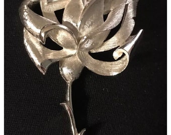 Vintage Silver Trifari rose Pin