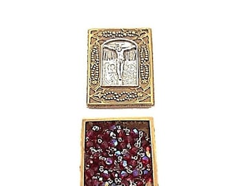 Red Crystal Rosary and Gold Prayer Box, Vatican Library Collection Catholic Mary and Jesus