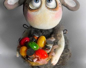 Grimmy the Goat original Easter art doll