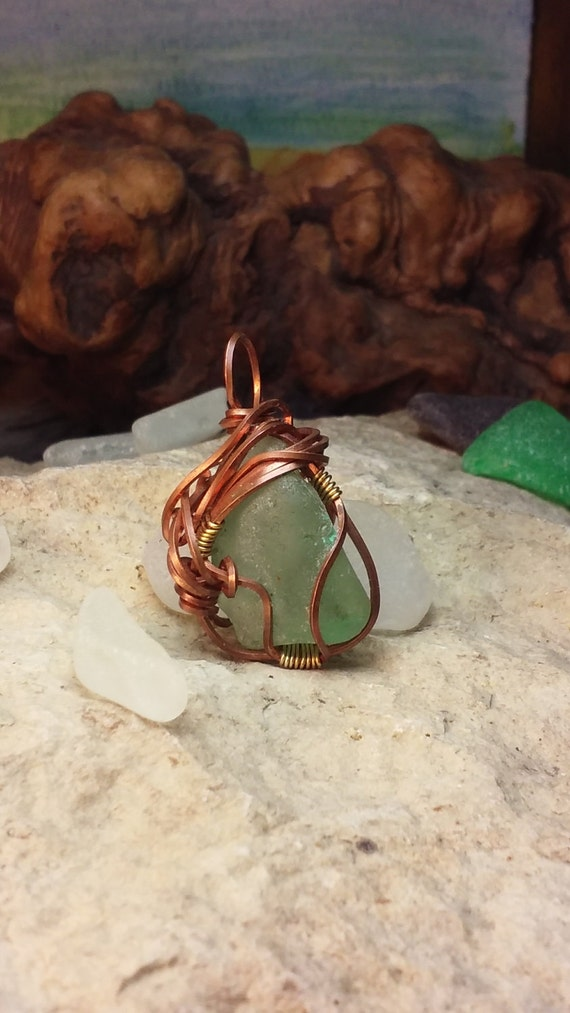 French Sea Glass Necklace - Copper Wirewrapped Sea Glass Jewelry - 40th Birthday Gift for Woman - Bonjour Sea Glass by Goofy Moose