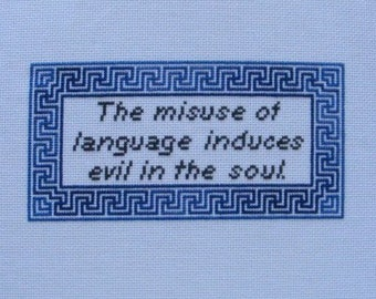 Socrates/Grammar Quote Cross-Stitch Pattern
