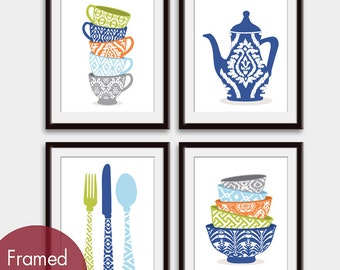 Cute Kitchen Pattern Utensils (B) (Cups, Tea pot, Utensils and Bowls) Set of 4 - Art Prints (Navy Blue Color Palette) Kitchen Art Prints