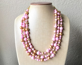 Blush Pink Beaded Necklace, pink Jewelry, Chunky statement necklace, gold pink necklace, blush jewelry, pink statement necklace