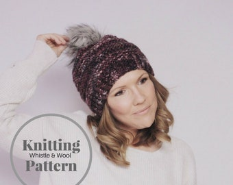 Knitting Pattern, The Somerset Slouchy Beanie, Teen- Adult size beanie pattern,Faux Fur Pom Pom DIY by Whistle and Wool