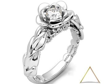 White Gold Leaf Ring, Floral Ring For Women, Blossom Diamond Ring, Leaf Gold Ring, 14K White Gold Ring, Gold Flower Ring, 18K Gold