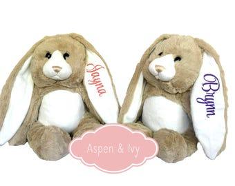 Personalized Stuffed Bunny - Monogrammed Stuffed Animal Bunny - Monogrammed Baby Gift - Personalized Baby Shower Gift - Custom Baby Gift