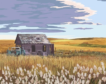 Wheat Field and Shack (Art Prints available in multiple sizes)