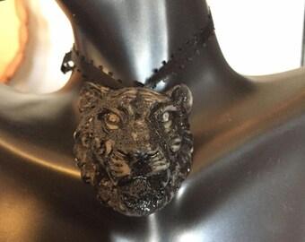 Visage of Dark Liger // Hand Carved Cat Pendant // Lioness, Lion, Tigress, Tiger // Therianthrope Amulet