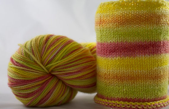 Self Striping Sock Yarn, Citrus Pop Colorway