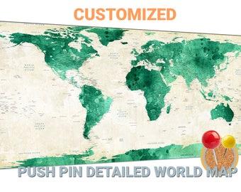 Sea foam world map canvas wall art Sea foam world map push pin map Sea foam world map travel map world map wall decor large world map