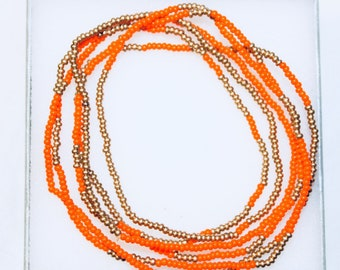 Orange and Gold Bead Wrap-Around Bracelet