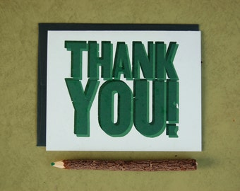 Letterpress Thank You Card - Teal Green Two-Color Letterpress Blank Thank You Card Wooden Type