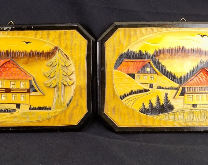 Pair Carved Wood Wall Hangings Relief Carved Swiss Chalets Hand Made Plaques