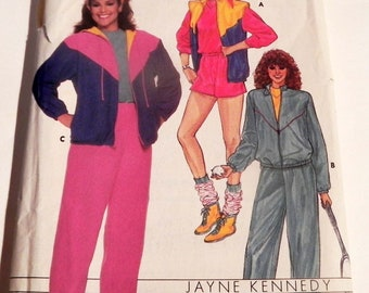 "1980s Track Suit Running Warm ups Sweat pants sweatsuit Hoodie sewing pattern Butterick 6875 Size 12 14 16 Bust  34 36 38"" UNCUT FF"