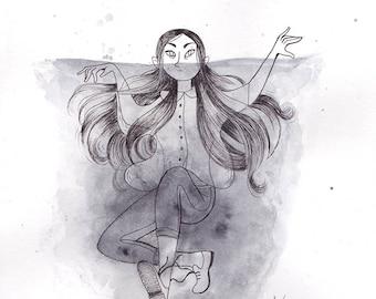 """Illustration originale - encre et aquarelle """"Blackwater"""""""