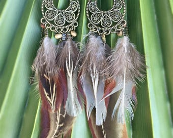 Antique Bronze Ornate Feather Dangle Earrings - Natural Feathers - Feather Festival Jewelry - Hippie Gypsy Boho Earrings - Bohemian Jewelry