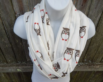 Brown / White / Red / Owls  Infinity Scarf