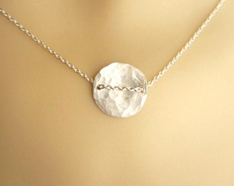 Sterling silver   disk necklace, hammered disk