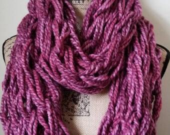 Pink/purple arm knit infinity scarf