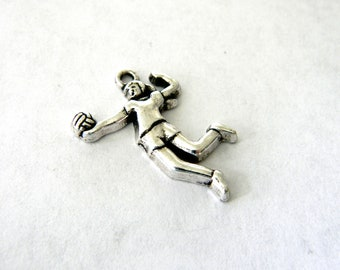 Volleyball Player Charms Set of 4 Silver Color Sports Charm 16x24mm Girl Team