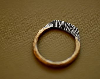 Rituals - Mixed Metal Ring - Textured Band - Unique Rings - Brass and Sterling - Ring Bands - Size 8 - Size 8.25 -
