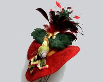Lovely Vintage 1940's Red MOHAIR Hat with Large Feather & Bird One of a Kind VICTORIAN Style OOAK