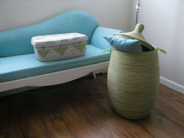 African Laundry Basket Mint Green Moss Green Lidded Hamper